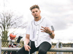 "1UP Sports Marketing client Patrick Mahomes flashing the adidas ""Three Fingers"""