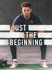 "1UP Sports Marketing client Patrick Mahomes posing for an adidas ""Just the Beginning"" print ad"
