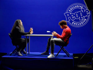 1UP Sports Marketing client Patrick Mahomes plays tabletop football with Troy Polamalu using a mini Head & Shoulders shampoo bottle as a football