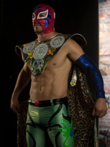 1UP Sports Marketing client Danny Amendola in full Mexican wrestling garb