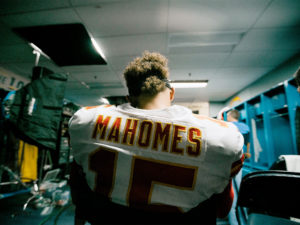 Patrick Mahomes jersey - standing in the locker room